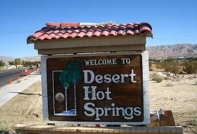 Welcome to Desert Hot Springs sign - Palm Drive & Camino Aventura (4444)