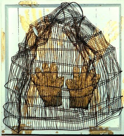 Objet CAGE gants d'orés 60x60cm EHRE 1988