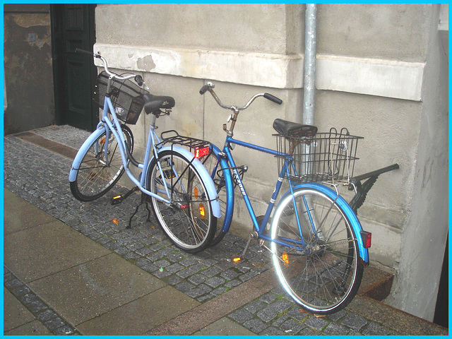 Duo de vélos bleus /  Blue bikes duo -  Copenhague / Copenhagen.  26-10-08