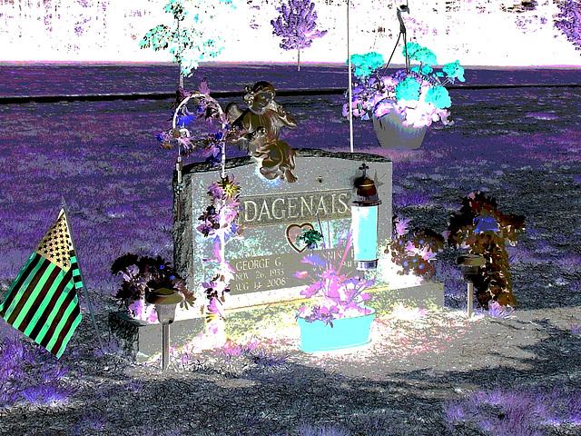 Cimetière St-Charles / St-Charles cemetery -  Dover , New Hampshire ( NH) . USA.   24 mai 2009  - Dagenais et son garde du corps. Négatif