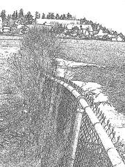Cimetière Mountain view près du lac Saranac  /  Mountain view cemetery. Saranac lake area.  NY. USA . March 29th 2009 - Dark outlines / Contours noirs
