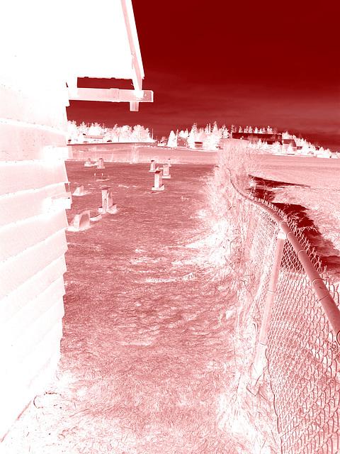 Cimetière Mountain view près du lac Saranac  /  Mountain view cemetery. Saranac lake area.  NY. USA . March 29th 2009 -  Négatif colorisé en rouge