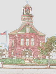 Palais de justice /  Courthouse -  Newport, Vermont.  USA / États-Unis.  23 mai 2009-  Contours de couleurs