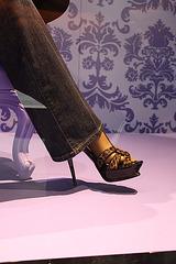 Vitrine podoérotique / Podoerotic shoes window store -  Jeans and leopard stilettos sandals.  Photo originale
