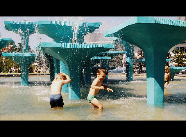In the city fountain ;)
