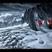 red-blue glacier crossing