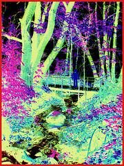 Création artistique de mon amie Krisontème / Ruisseau et pont mignon - Little stream and pretty bridge / Båstad , Suède..