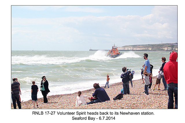 RNLB 17-27 heads home - RNLI & Coastguard Joint Exercise - Seaford Bay - 6.7.2014