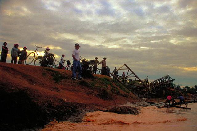 Damaged bridge to Battambang