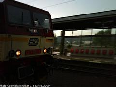 CD #371015-9 arriving at Nadrazi Holesovice at Dusk, Prague, CZ, 2009