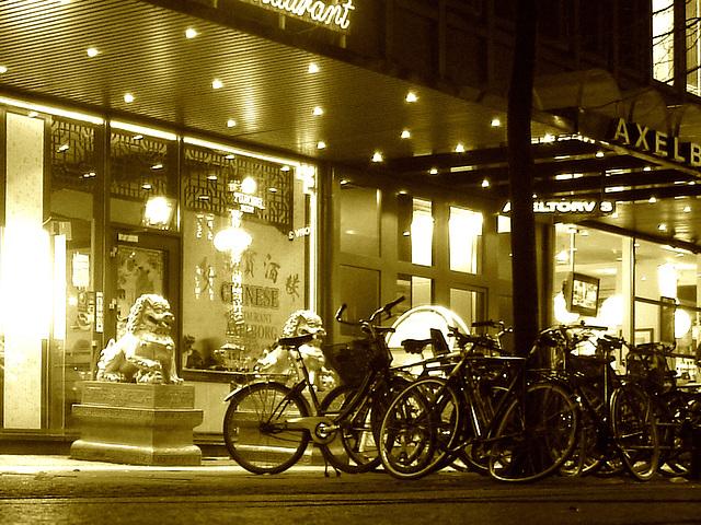 Vélos et dragons de nuit  /  Bikes & dragons night sight..   Copenhague /  Copenhagen.   25-10-2008 -  Sepia