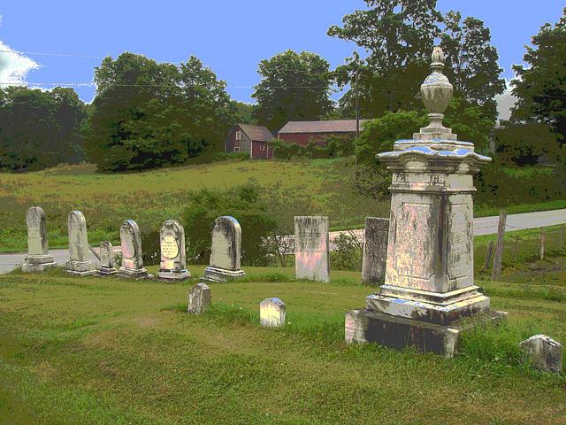 Lake Bomoseen private cemetery. Sur la 4 au tournant de la 30. Vermont, USA - États-Unis. - Postérisation  avec ciel bleu photofiltré