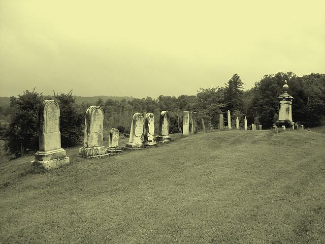Lake Bomoseen private cemetery. Sur la 4 au tournant de la 30. Vermont, USA - États-Unis. - Photo ancienne - Vintage