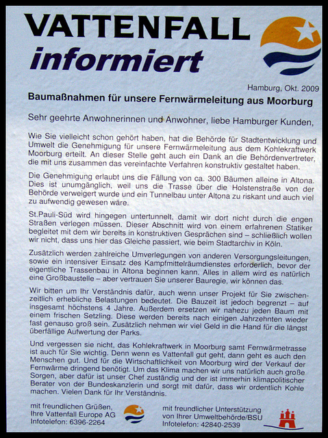 Vattenfall informiert...