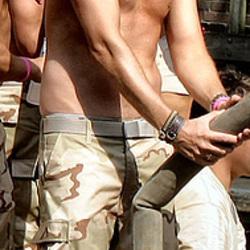 UN Soldier with Fire Hose