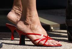 Street shot: red BP butterfly slides (F)