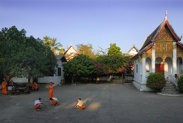 Monks in the yard of Wat Pa Phai