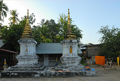 Stupas in front of Wat Pa Phai