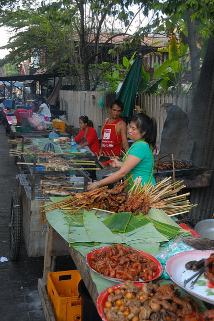 Food vendors sell out along the street