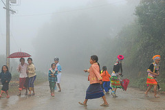 Hmong people in the mist