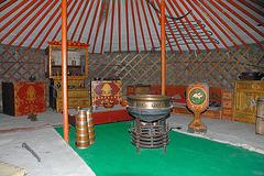 Inside furnishing in a Mongolian ger