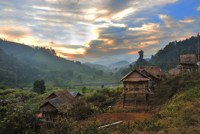 Namly village in sunset light