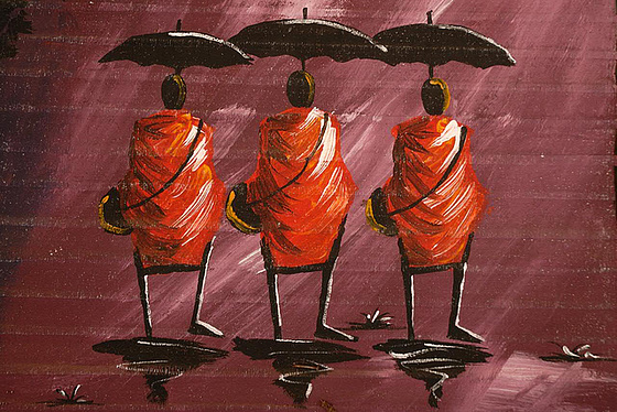Three monks from behind
