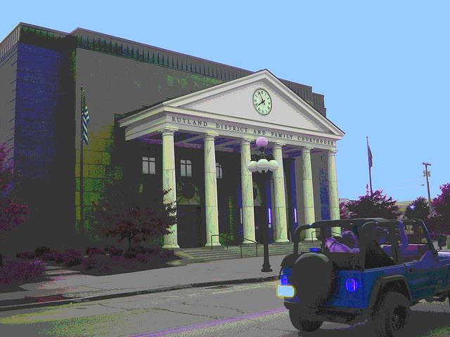 Rutland. Vermont USA - 25-07-2009  -  Rutland district and family courthouse -  RVB postérisé et cc