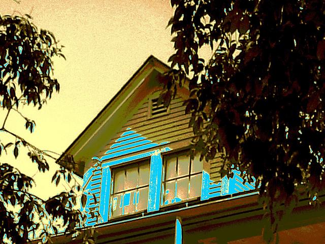 Campus Louise sur route 125. Green Mountains. Vermont , États-Unis / USA.  25 juillet 2009-  Sepia avec bleu photofiltré