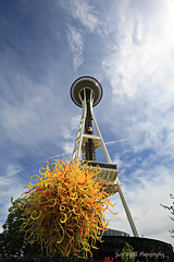 The Space Needle, Seattle, with a Chihuly Sculpture