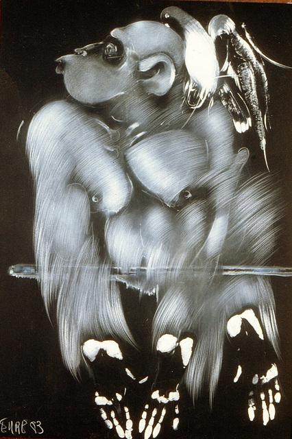 Singe et colombe (1 )dessin1983  EHRE