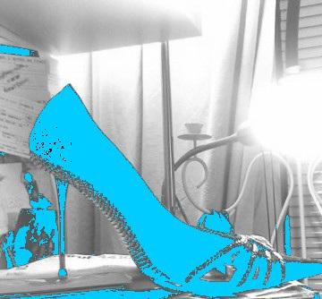 Simona's spike heels shoe - Chaussure à talons aiguilles de mon amie Simona - Avec / with permission.  Bleu photofiltré