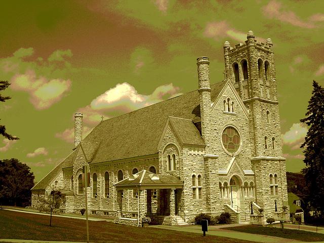 St-Mary's Assumption church. Middleburg. Vermont - USA /  25 juillet 2009- Sepia postérisé