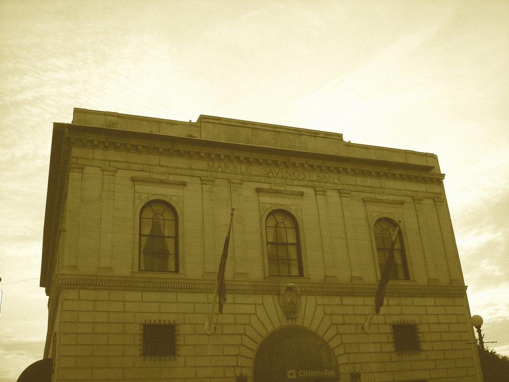 Rutland. Vermont USA - 25-07-2009 - Marble saving bank en sepia