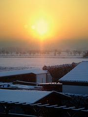 Winterlandschaft mit Glitzerschnee