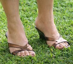 milf wearing callisto wedge sandals