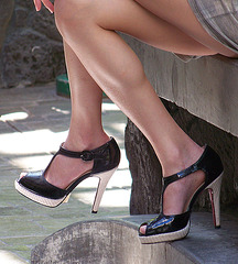 mall shot of hot legs and heels