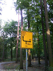 Cycle Route Sign in Kunraticky Les, Prague, CZ, 2009