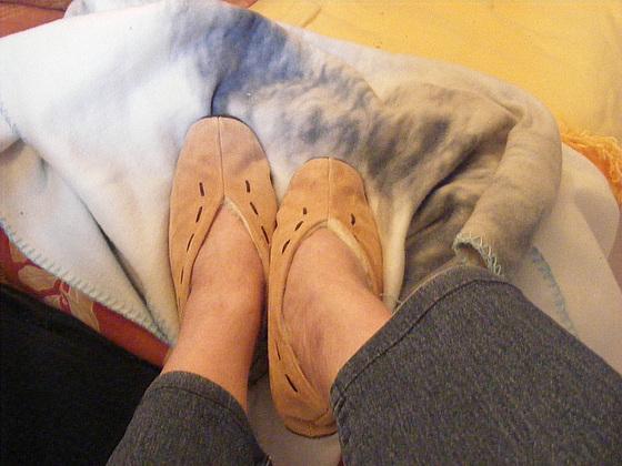 Petits pieds bien au chaud / Mon amie Christiane avec permission