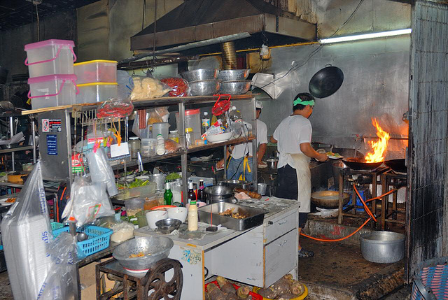 Kitchen of a Thai-Chinese Restaurant
