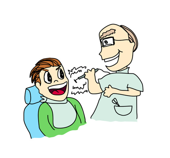 Vector cartoon of dentist with patient