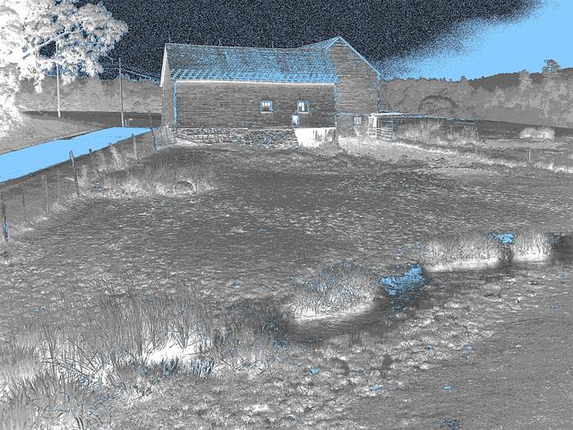 Lake Bomoseen private cemetery. Sur la 4 au tournant de la 30. Vermont, USA - États-Unis.-  N & B en négatif avec bleu postérisé
