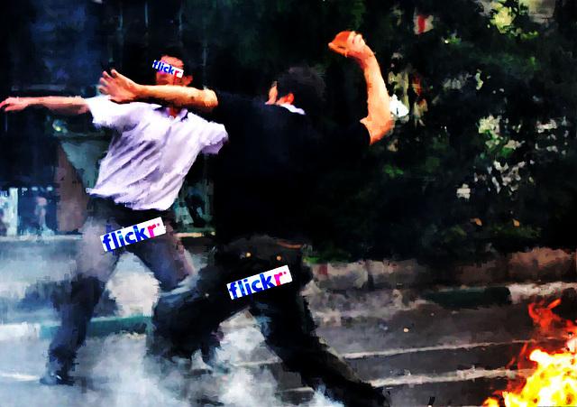 Anti-Flickr Rebels Hurl Rocks at Flickr Police