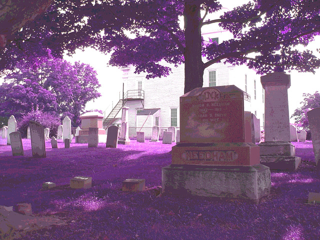 Whiting church cemetery. 30 nord entre 4 et 125. New Hampshire, USA. 26-07-2009  - RVB postérisé