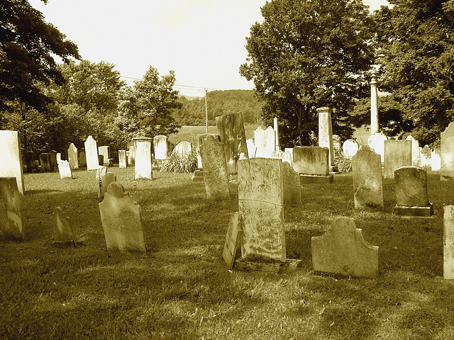 Whiting church cemetery. 30 nord entre 4 et 125. New Hampshire, USA. 26-07-2009-  Sepia