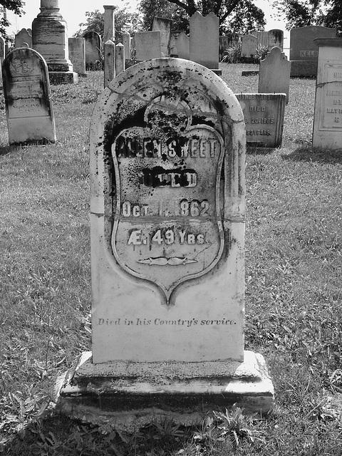 Whiting church cemetery. 30 nord entre 4 et 125. New Hampshire, USA. 26-07-2009-  Sweet RIP en noir et blanc.