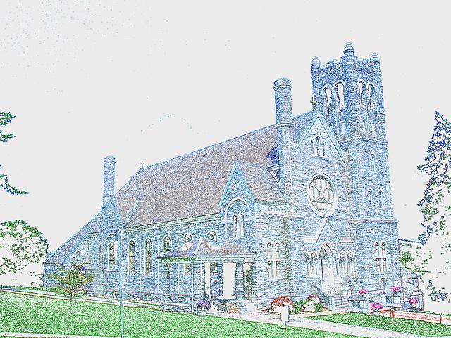 St-Mary's Assumption church / Middleburg, Vermont /  USA - États-Unis -  Contours de couleurs