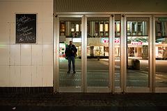 Empty street at night