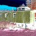 Train for nowhere /   Train pour nulle part -  St-Johnsbury. Vermont USA   /  12 octobre 2009- Négatif RVB postérisé avec bleu photofiltré