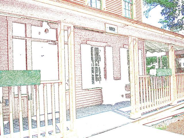 Campus Louise sur route 125. Green Mountains. Vermont , États-Unis / USA.  25 juillet 2009. -  Contours de couleurs